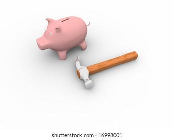 Piggy bank & hammer