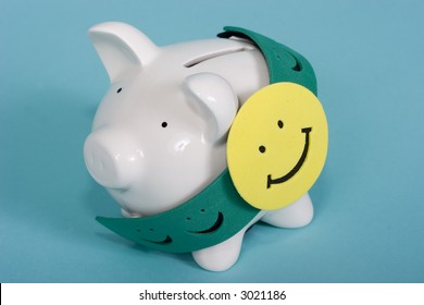 Piggy bank with a happy face