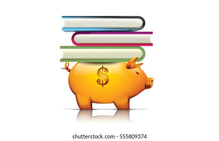 Piggy bank holding books, 3D render illustration