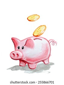 Piggy Bank icon watercolor painting