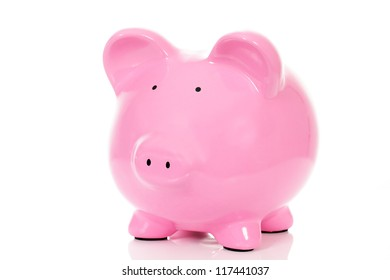 piggy bank, isolated on white in studio