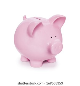 Piggy Bank isolated on white with soft natural shadow, three quarters to camera, front to back focus.