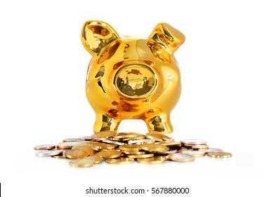 Piggy bank isolated over white background