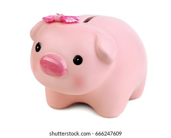 Piggy bank isolated over white background. Money saving, home bookkeeping, shopping and income concept