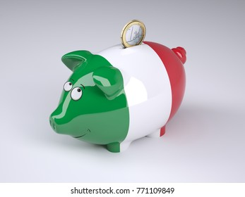 Piggy bank with Italian flag and one euro coin, 3D illustration