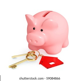 Piggy bank and keys - over white