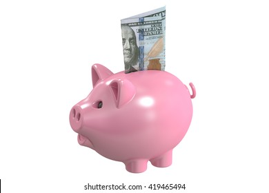 Piggy bank and money, 3D rendering isolated on white background