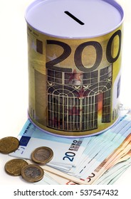 Piggy bank for money with the image of euro banknotes