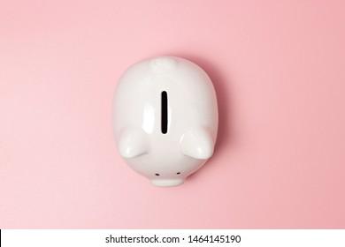 Piggy bank money on pink background. Savings concept