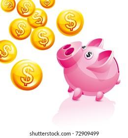 Piggy Bank for Money rain.