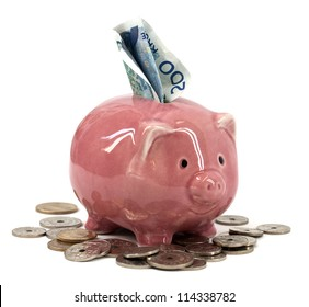 Piggy bank with Norwegian currency