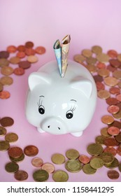 piggy bank with bank notes and coins on pink background