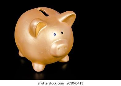 Piggy bank on black background