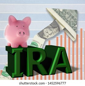 Piggy bank on IRA over dollar arrow and chart