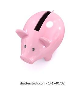 Piggy bank on white