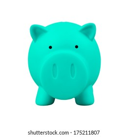 Piggy bank on white background, green color