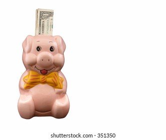 Piggy bank with one dollar note on a pure white background