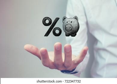 Piggy bank and percent symbol