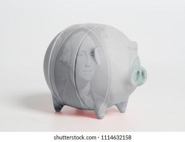 Piggy bank with portrait of George Washington one U.S. dollar bill isolated on white background.