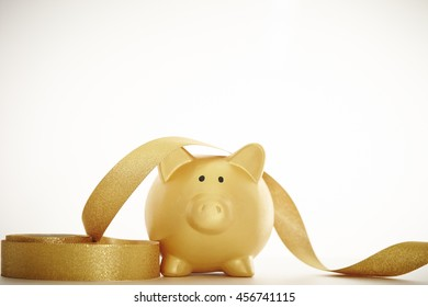 Piggy bank with ribbon