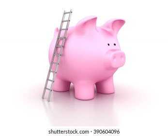 Piggy Bank With Stair - Savings Concept - High Quality 3D Render