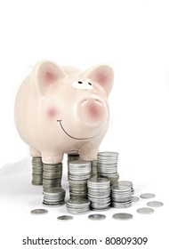 piggy bank  standing on the coin