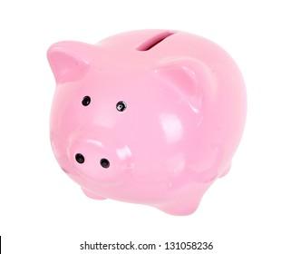Piggy bank style money box isolated on a white studio background