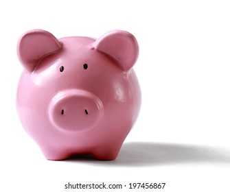 Piggy bank style money box isolated on a white background