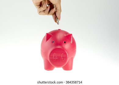 piggy- bank style money box isolated on a white studio background