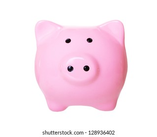 Piggy bank style money (front view) box isolated on a white studio background