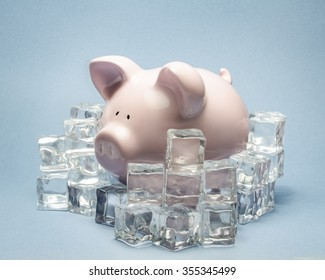piggy bank surrounded by ice cubes