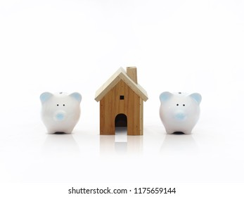 Piggy bank with toy wooden house Money Saving Ideas