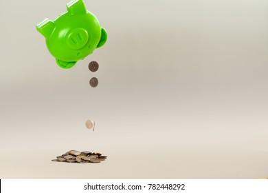 Piggy bank upside down, when broke.