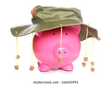 Piggy bank wearing an Australian cork hat studio cutout