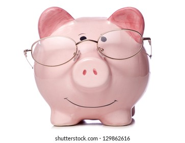 piggy bank wearing reading glasses studio cutout