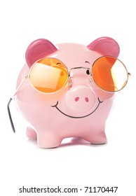 Piggy bank wearing retro sunglasses studio cutout