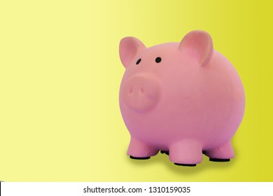 Piggy bank with yellow background