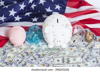 Piggy Banks on Dollars with American Flag