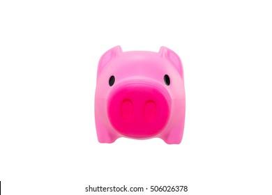 Piggy saving on white background.
