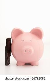 Piggybank and cellphone