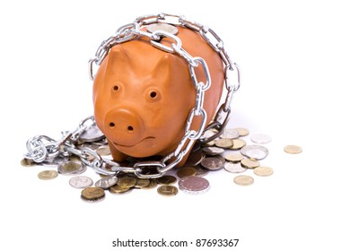 piggy-bank locks, chained and locked on white background