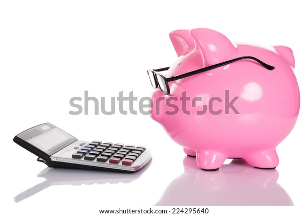 Piggybank looking at calculator. Isolated on white
