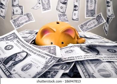 Piggybank on dollars and money shower