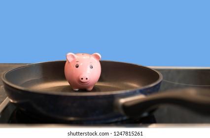 piggybank in a pan