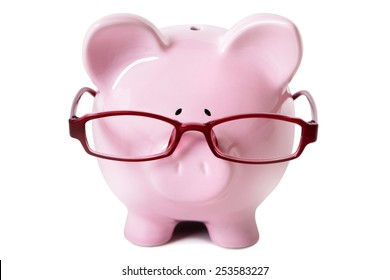Piggybank : piggy bank, glasses, isolated, front view.