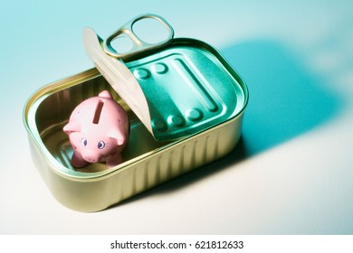 Piggybank in Tin Can on Seamless Background