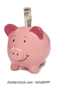 Piggybank with Us dollar money studio cutout