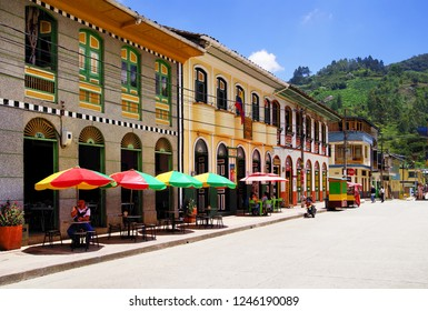 PIJAO, COLOMBIA - AUGUST 14, 2018: Street scene in Pijao, wellknown village in Colombia for coffee culture, South America