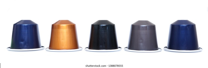 Pijnacker, the Netherlands. May 2019. A row of Nespresso brand coffee capsules, isolated on a white background.