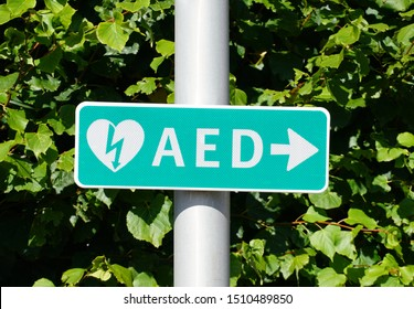 Pijnacker, the Netherlands. September 2019. Directions to a AED medical device.